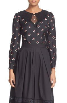 MARC JACOBS Tulip Print Silk Blouse available at #Nordstrom