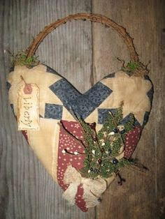 Quilted heart wall hanging by Olde Annie Primitives