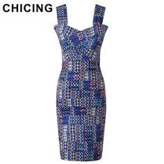 CHICING Sexy Bandage Dresses 2016 Summer Geometric Printed Spaghetti Strap High Elastic Women Bodycon Wrap Slip Dress A148031