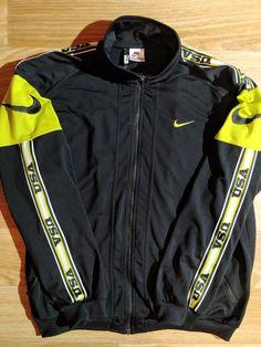 3ec5369427 Nike USA 90 s Vintage Mens Tracksuit Top Jacket Black Lime Swoosh Hype
