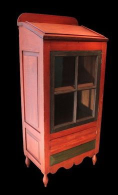 C Mid-19th Century PA Paint Decorated Standing Desk and Cupboard.