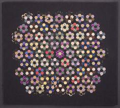Miniature Silk Hexagons Quilt Piece: Circa 1860