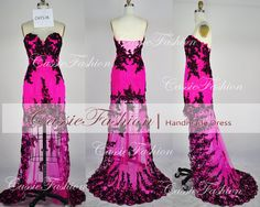 Hi Low Lace & Silk Evening Gown ~