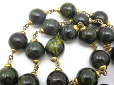 Bakelite Necklace - Black and Green Marbled Beads, Creamed Spinach, Bakelite Jewelry