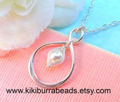 Sterling Silver Infinity Peapod Necklace ( Choose Your Color Pearl) Mother Gift, Mother Of The Bride Or Groom Bridesmaid on Etsy, $22.50