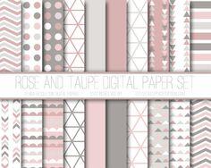 Modern Digital Paper, Rose, Taupe, Pink, Geometric Patterns, Digital Background, Scrapbook Paper, Card Design