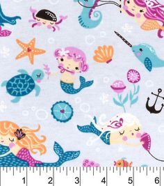 Snuggle Flannel Fabric-Mermaid Friends