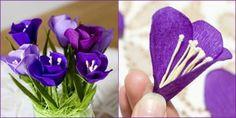 Творческая мастерская Крокусы из гофрированной бумаги цветы технология поделки мастер класс весна бумага 8 Марта