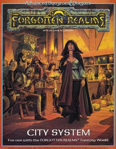 Someone didn't notice her fangs until it was too late.  (City System cover by Larry Elmore, TSR, 1988.)  Boxed set includes a 32 page booklet briefly outlining the city of Waterdeep with many random tables for buildings and encounters, a poster size illustration of Waterdeep, 10 interconnecting poster maps of the entire city in detail with interior plans of key buildings, and plans for Castle Waterdeep.