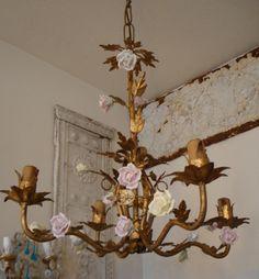 Antique Italian Porcelain Rose Tole Chandelier  www.parispanacheantiques.com