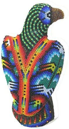 Huichol bead sculpture Mexican Home Decor, Mexican Folk Art, Seed Bead Art, Native Art, Native American Art, Yarn Painting, Mexico Art, Color Crafts, New York Art