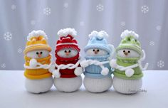 Knitted snowmen Set of 4 Christmas gift Home by NeighborKitty Sock Snowman, Crochet Snowman, Cute Snowman, Christmas Bags, Christmas Snowman, Christmas Ornaments, Primitive Christmas, Christmas Knitting, Snowman Decorations