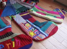 Recycle old sweaters as Christmas Tree Skirt and Stockings.