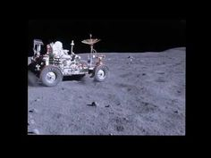 Stabilized remastered footage from Apollo 16 mission of astronaut John W. Young riding around on the moon's surface