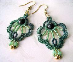 Green tatted earrings with dark Jasper stone