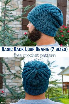 Looking for a beginner friendly beanie pattern? this Basic Back Loop beanie is for you! From newborn to adult, and easy enough for the novice crocheter. Crochet Slouchy Beanie Pattern, Mens Crochet Beanie, Beanie Pattern Free, Crochet Men, Easy Crochet Hat, Mode Crochet, Confection Au Crochet, Crochet Patterns, Hat Patterns