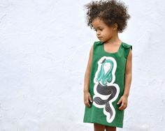 Mermaid Girls Dress - Toddler Baby Dress in Emerald Green - Eco Friendly Nautical Summer Kids Fashion (Ready to Ship in 2T)