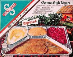 Vintage TV dinner packaging.  We used to buy these for .29 each at the A & P! plus you got green stamps there