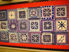 This lesson focused on radial symmetry. Each student painted a snowflake. We started with … - Winter Art Classroom Art Projects, School Art Projects, Art Classroom, Snowflake Quilt, Snowflakes Art, Christmas Art Projects, Winter Art Projects, Snowflake Bentley, Symmetry Art