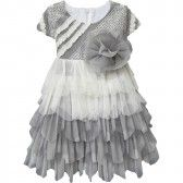 Isobella & Chloe Baby Girls Gray Serenity Ruffle Empire Waist Party Dress 3-24M - SophiasStyle.com