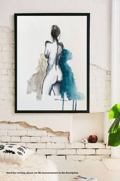 Nude Woman, Original Watercolor Painting, Female Figure Sketch, Bedroom Art, Naked, Bathroom Decor, Minimalist Modern Art, Pen and Ink. by NiksPaintGallery on Etsy