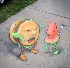"""Food Fight"" by David Zinn, Ann Arbor, MI, 7/15 (LP)"