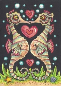 SEAHORSE VALENTINE - Original Sea Horse Folk Art Holiday By Susan Brack EBSQ