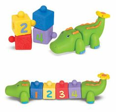 These blocks for babies and toddlers are great for cognitive skills: Textured patterns, animal picture groups, and a bright numeral on each block encourage matching and counting play that can be tailored for any age.
