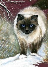 BIRMAN CAT A STROLL IN THE SNOW LIMITED EDITION PRINT OF PAINTING ANNE MARSH ART