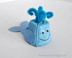 Egg Carton Whale Make a darling egg carton whale with just a few simple supplies. Its so easy to do! The post Egg Carton Whale was featured on Fun Family Crafts. Diy Crafts To Do, Family Crafts, Fun Crafts For Kids, Summer Crafts, Toddler Crafts, Preschool Crafts, Paper Crafts, Craft Activities, Whale Crafts
