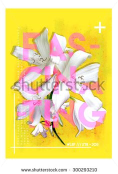 Floral graphic print with text and geometric shapes - stock photo