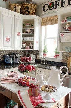 Christmas kitchen decorating ideas. Red & white kitchen. Easy inexpensive ideas.