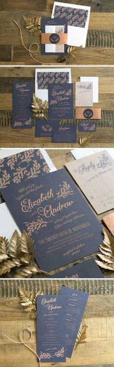 Gorgeous navy and copper rustic wedding invitation suite.