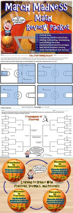 This is a fun, engaging March Madness-themed math review packet. The activities include finding area, comparing fractions and decimals, all operations with decimals, and converting between fractions, decimals, and percents. It's great for any 4th or 5th grade standardized test prep with all CCSS aligned concepts. Mike's Math Mall - $