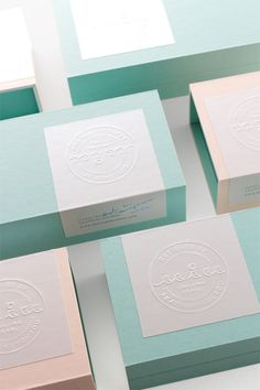 Packaging design. Embossed accents and colorful boxes.