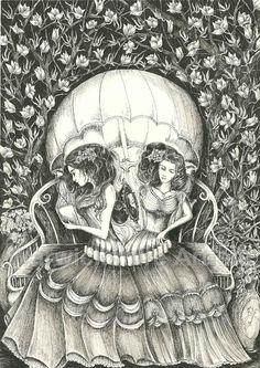 Women Skull Illusion. Graphite by Amy Dodd