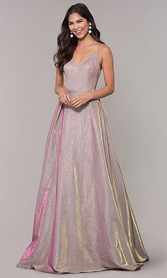 9c227a28179 Iridescent Long Formal V-Neck Ballgown. Plus Size Prom DressesHomecoming ...