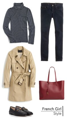 French Girl Style - 5 essential pieces for the perfect fall French girl outfit including stripes and a trench coat Paris Outfits, Girl Outfits, Casual Outfits, Fashion Outfits, Preppy Mode, Preppy Style, Trent Coat, Trench Coat Outfit, Parisian Chic Style