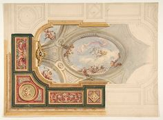 Jules-Edmond-Charles Lachaise | Design for a ceiling in Baroque style with a central panel in trompe l'oeil | The Met