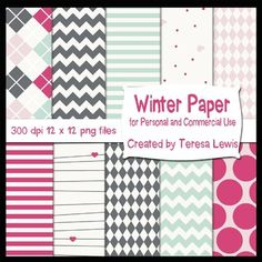 "Freebie: Included are 16 12""x12"" digital papers with a fun winter theme. Enjoy! :) Commercial use is ok but please credit my store."