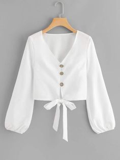 Women Boho Plain Shirt Regular Fit V Neck Long Sleeve Bishop Sleeve Placket White Single Breasted Knot Hem Blouse Teen Fashion Outfits, Hijab Fashion, Trendy Outfits, Girl Outfits, Fashion Dresses, Cute Outfits, Boho Fashion, Womens Fashion, Blouse Styles