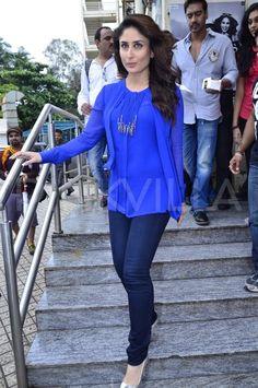 Ajay Devgn, Kareena Kapoor Khan at 'Singham Returns' merchandise launch Bollywood Fashion, Bollywood Actress, Casual Wear, Casual Outfits, Designer Punjabi Suits, Kareena Kapoor Khan, Bicycle Girl, Indian Celebrities, Western Outfits