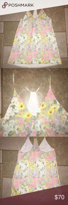 "Beautiful Alice + Olivia pastel slip dress Beautiful silk floral print y-back tank dress.  Excellent condition.  Dry clean only.  28"" long from top of back. Alice + Olivia Dresses Mini"