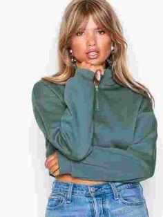 Cropped Zip Sweat - Nly Trend - Grønn - Gensere - Klær - Kvinne - Nelly.com Zip, Sweaters, Style, Fashion, Moda, La Mode, Pullover, Sweater, Fasion