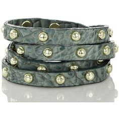 Brahmin Stud Wrap Bracelet Jasper Melbourne ($78) ❤ liked on Polyvore featuring jewelry, bracelets, handcrafted jewellery, wrap bracelet, studded jewelry, brahmin and leather wrap bracelet