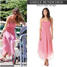Gisele Bundchen in pink print maxi dress in Boston - Want Her Style #fashion #summer #style #dress #pink #maxi