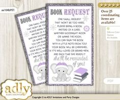 Request a Book Instead of a Card for Girl Elephant Baby Shower or Birthday, Printable Book DIY Tickets, Winter, Purple Grey