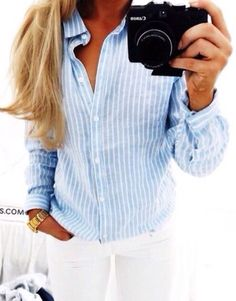 White jeans and a striped button down