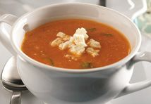 Roasted veggies add a subtle earthiness to this richly delicious soup that gets a burst of flavor from basil and feta cheese. It′s so good, it′s hard to believe it′s ready in under an hour!<br />