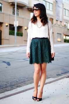 wearing lace and sequins during fall, Lam in Louboutins, Hunter Green Lace & Sequins